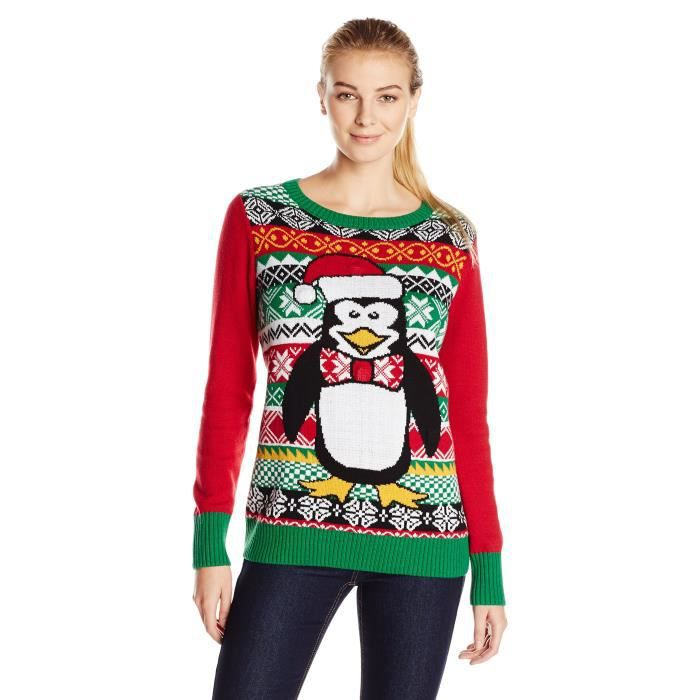Womens Ugly Christmas Sweater Penguin Light Up Crew Neck Pullover