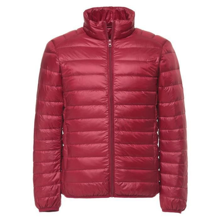 Mode Montant Épaissie Longues Couleur Doudoune Col Chaud Manches Unie Homme Rouge S7FqcpcwHT