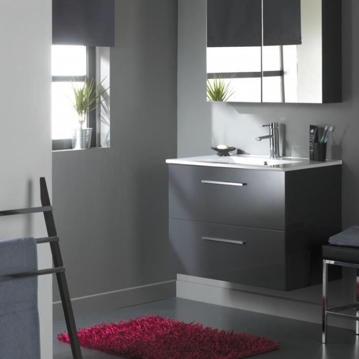 Meuble de salle de bain 80 cm 2 tiroirs gris laqu achat for Meuble salle de bain 80 cm bois
