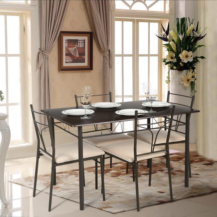 IKAYAA 5PCS Set Table Chaise Moderne Charpente Metallique Salle A Manger Meuble De Cuisine Pour 4 Personne
