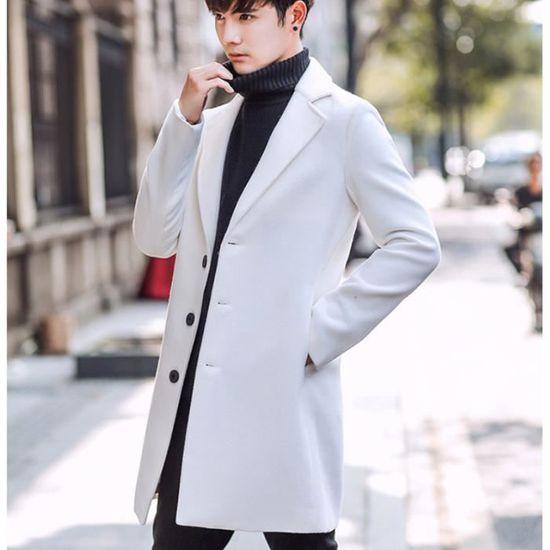 taille 40 1c3f1 c9d61 D'hiver Laine Homme Long Pardessus Manteaux Blanc Mélanges ...