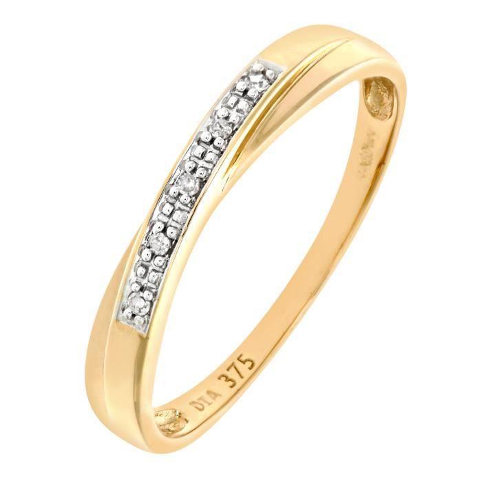 Revoni Bague alliance Diamant Or Jaune 375° Femme: Poids du diamant : 0.02 ct - CD-PR06552Y-P