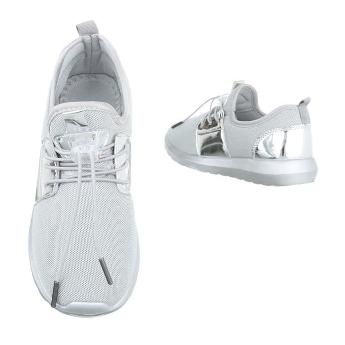 Femme chaussures loisirs chaussures Sneaker gris argent 41