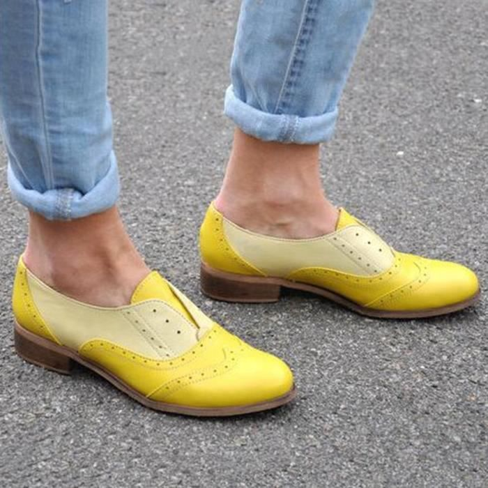 Place Bottillons Rond Bout Simples Femmes En Jaune on Slip Plates Cuir Talons Chaussures ngz5qxY5w