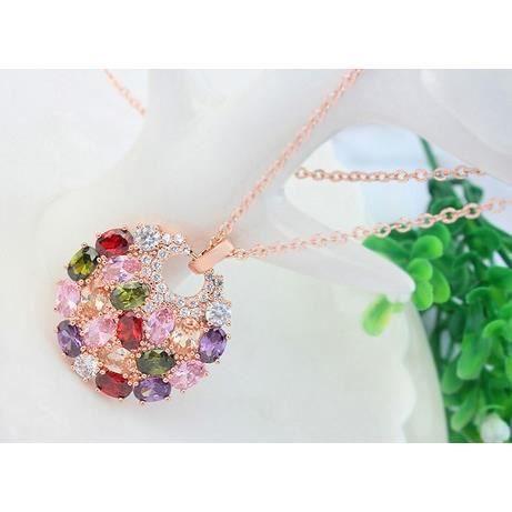 Saphira bijoux fantaisie. Pendentif collier plaqué or rose avec cercle cristal Swarovski éléments multicolore.