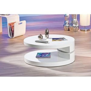 TABLE BASSE Table basse ronde laquée blanche extensible RUBEN