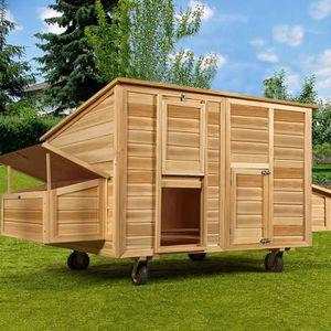 POULAILLER Poulailler mobile 220x125x118 bois avec roues pond