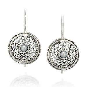 Boucle d'oreille Women's Antique Style 925 Sterling Silver Round Fi