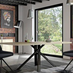 TABLE À MANGER SEULE Table industrielle couleur bois et effet béton JEF