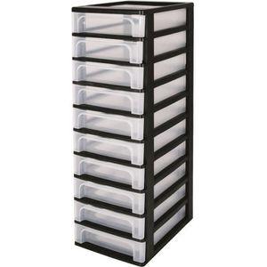 Tour de rangement noir avec tiroirs - Achat / Vente pas cher
