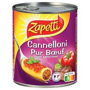 PLAT A BASE DE VIANDE Zapetti Cannelloni Pur Boeuf Sauce Napolitaine 800