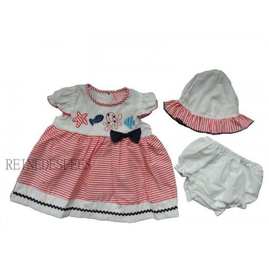 bf34ca1975e Robe d été bébé fille 6 - 9 mois marin rayé rouge ensemble de vêtement avec  chapeau et culotte assortie idée cadeau naissance