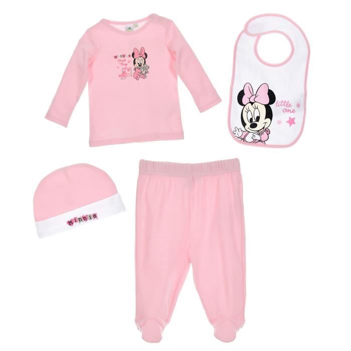Set t-shirt pantalon bavoir bonnet bébé Fille MINNIE - 100% coton Rose Disney baby