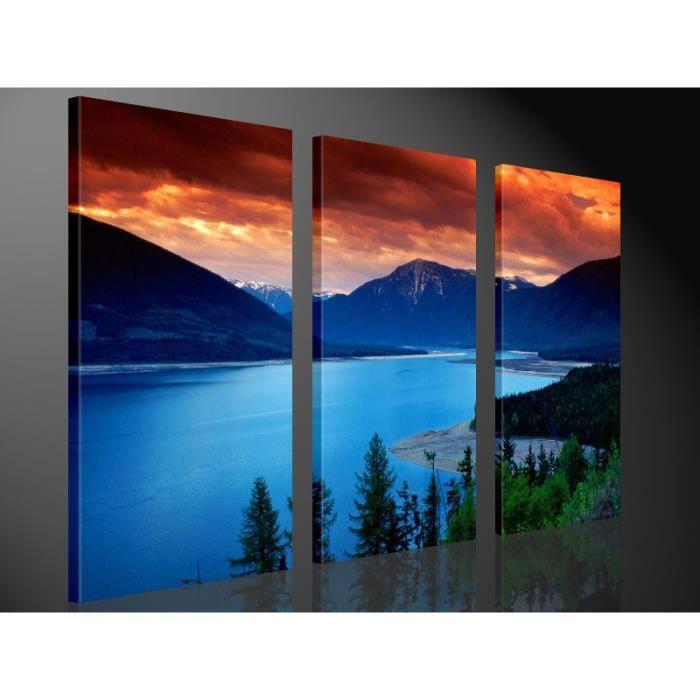 Tableau moderne imprim 130x80 montagnes achat vente for Tableau imprime sur verre