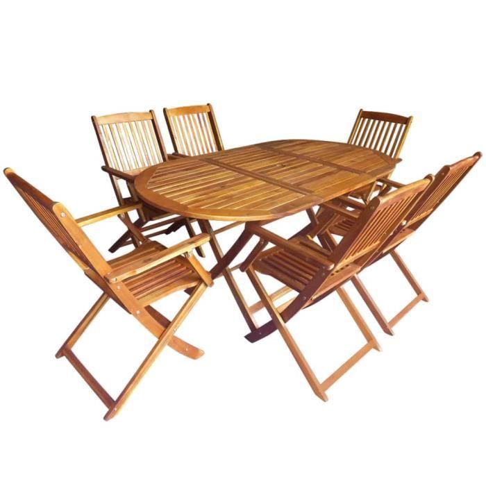 Mobilier pliable de jardin 7 pcs Bois d\'acacia - Achat / Vente salon ...