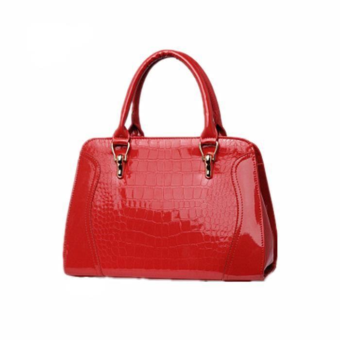 crocodile en cuir femmes travaillent sac messager sac à main Rouge