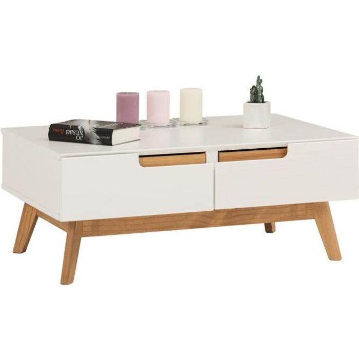 Table Basse TIBOR Style Scandinave Design Vintage Nordique Table De Salon  Rectangulaire 2 Tiroirs 2 Niches Pin Massif Lasuré Blanc