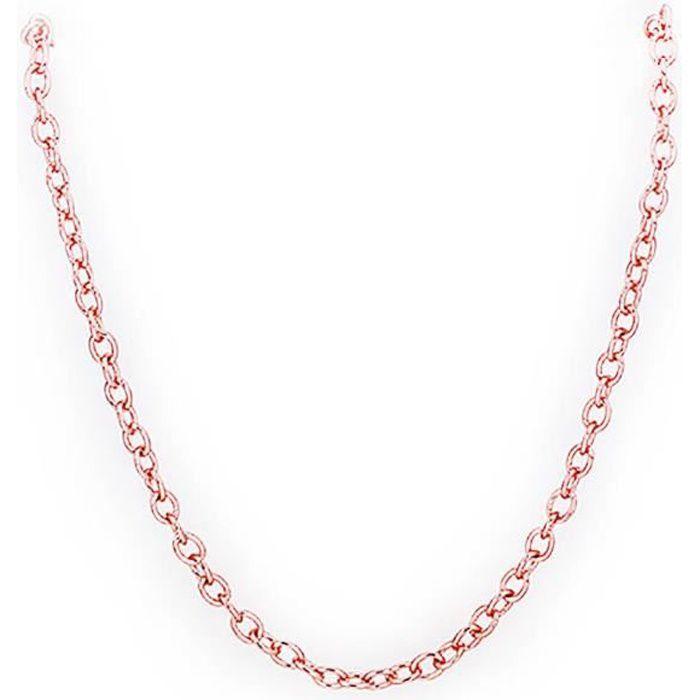 nouvelle version en gros recherche d'authentique Chaîne pour collier Doré or rose 750/00 18K carats Bijou fantaisie haut de  gamme Forçat 1mm 45+5cm Femme Rose wz-CH0002