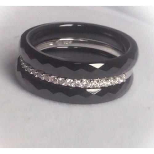 Bague céramique 33= anneaux - Argent massif et CZ