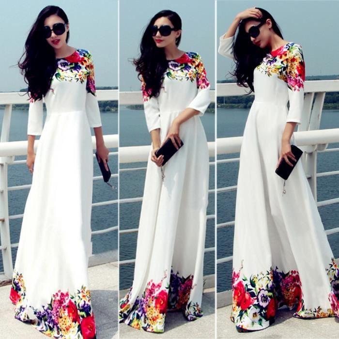 Robe femme longue blanche à motif fleur coloré Fienjo manches 3-4 col rondtaille haute robe longue
