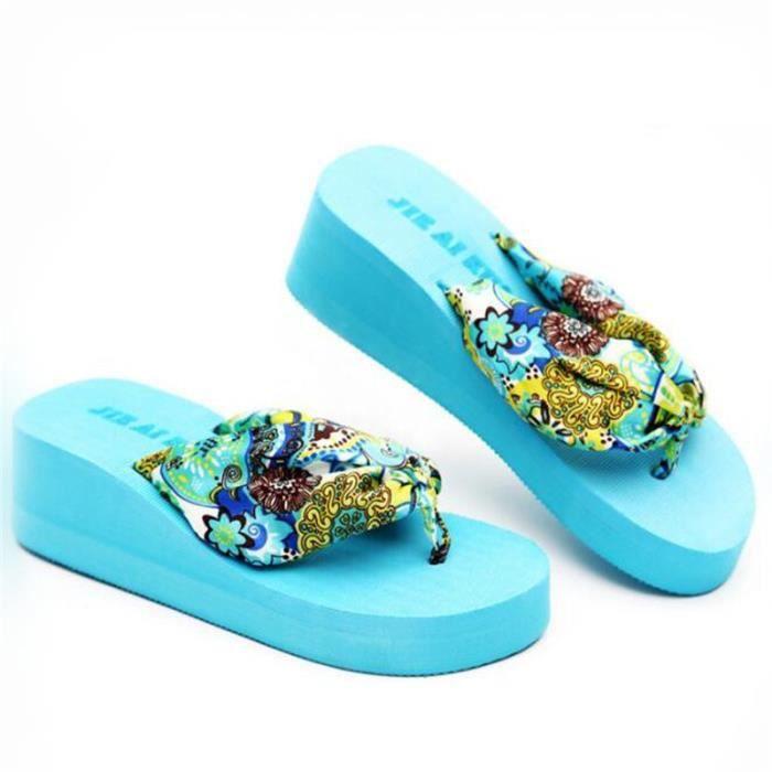 De tongs femmes bleu La Bohème satin pente avec Summer L'épaisseur de la pince inférieure chaussons Grande Taille 35-40 YBNgh0YV5