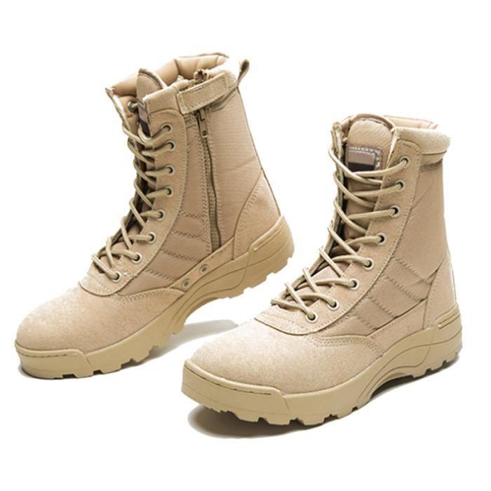 Botte Homme Qualité Supérieure De Sécurité De L'armée Durable Haute-Top Tactique Cheville Désert Bottes Chaussures De Ville Blanc Blanc - Achat / Vente botte  - Soldes* dès le 27 juin ! Cdiscount