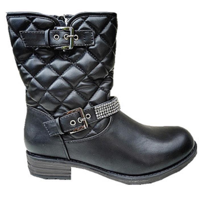 Fashionfolie888 - Femme Bottine motard Chaussure fourrées botte fur fourrure talon carré SM216 NOIR