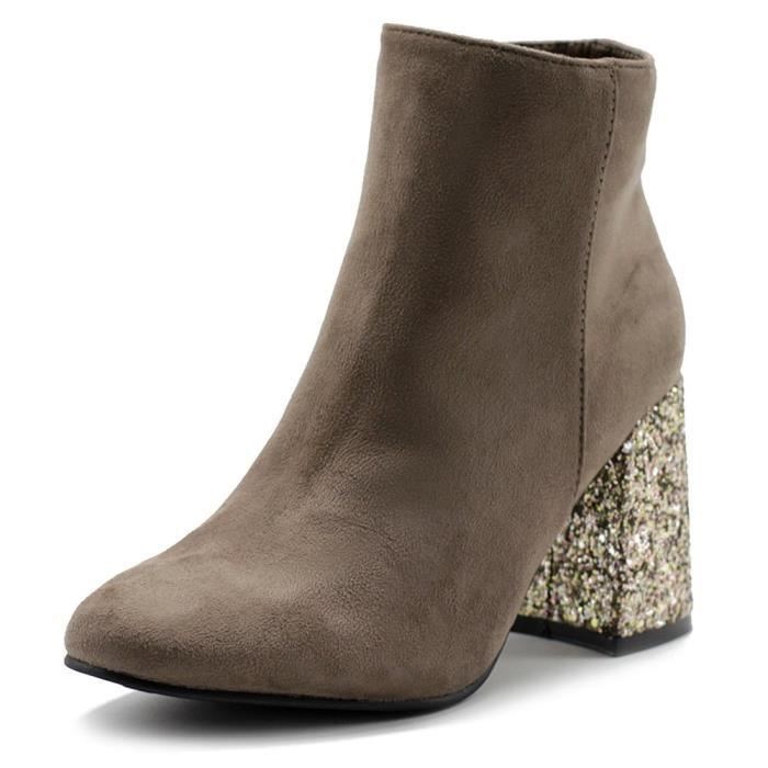 Chaussures Faux Suede Zipper Up Chunky Talons Glitter Bottines Twb0103 JOTE0 Taille-38