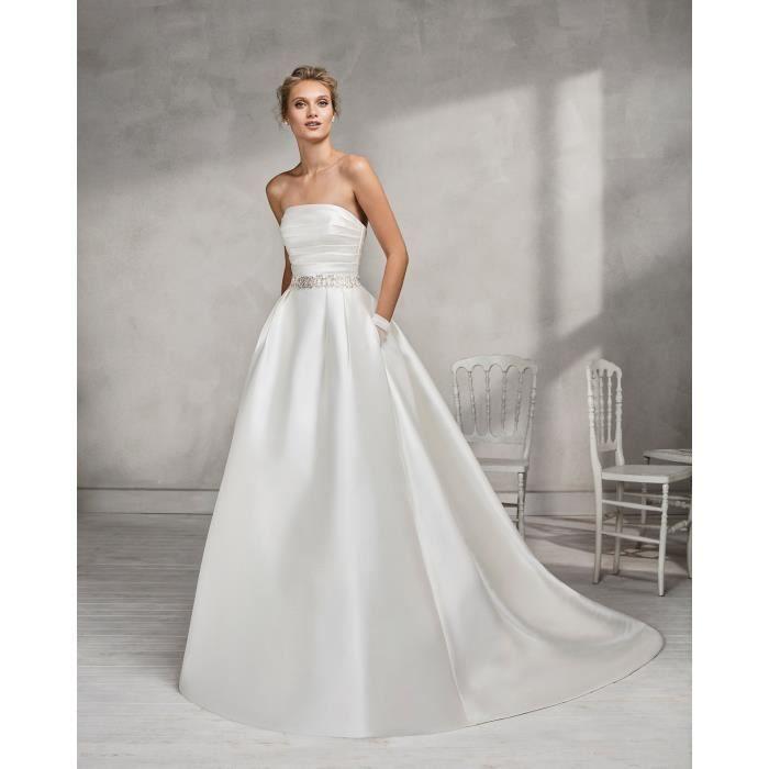 Robe de Mariée Mariage Longue Femme Satin Bustier Sans Bretelles Avec  Ceinture Cristal 54c1f849ca9b