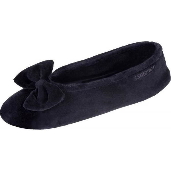 95811-AAG - Chaussons ballerines femme velours grand nœud marque Isotoner  couleur noir 749a5133492b