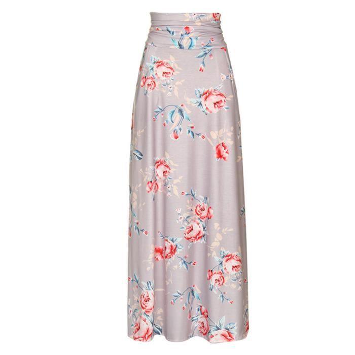 Plissée Rose Evasée Maxi Jupe Bleu Femme Stars® Fleurie Longue Basique Imprimée Elastique rose w8qvxxC