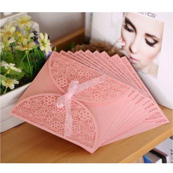 10pcs Carte Dinvitation Mariage Romantique Enveloppe De Motif Fleurs Sculptes Dlicates Ruban Rose
