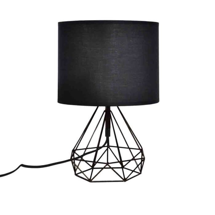 Lampe A Poser Noir 25xh44cm Achat Vente Lampe A Poser Noir