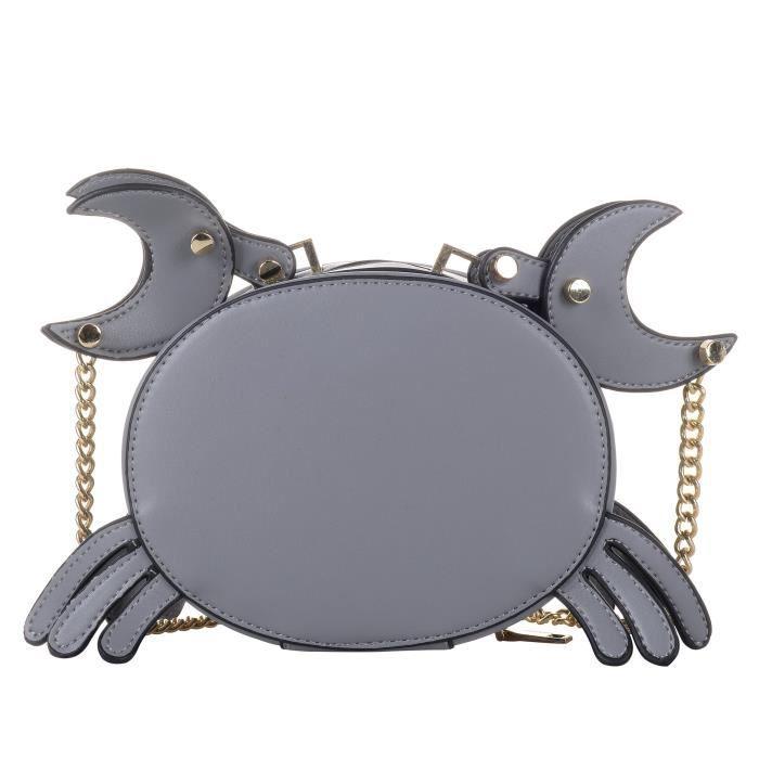 Crabe mignon Forme Pu Sac à main en cuir chaîne en métal sac à main bandoulière Satchel G0XWM