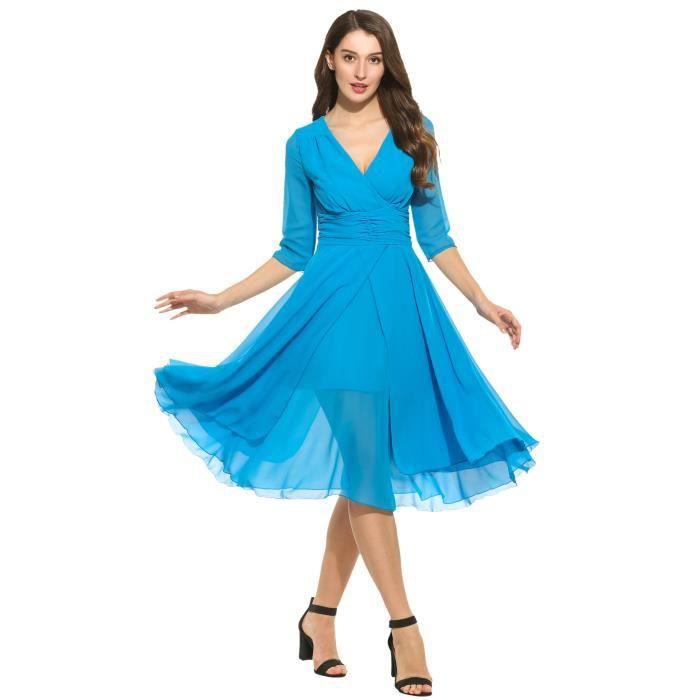 Robe Casual Femmes V Neck Une ligne à manches 3-4 robes de mousseline élégante 2CSS39 Taille-34