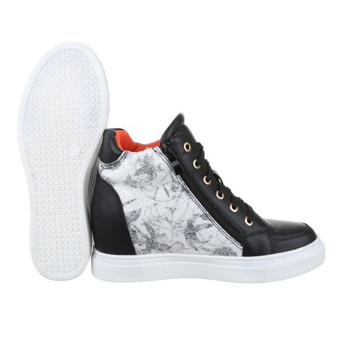 femme Baskets chaussure chaussures décontractées semelle compensée Wedges noir blanc