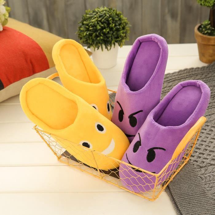Hiver Mignon Chaud Pantoufles Chausson antidérapant Hommes et femmes chaussures de plancher d'intérieur