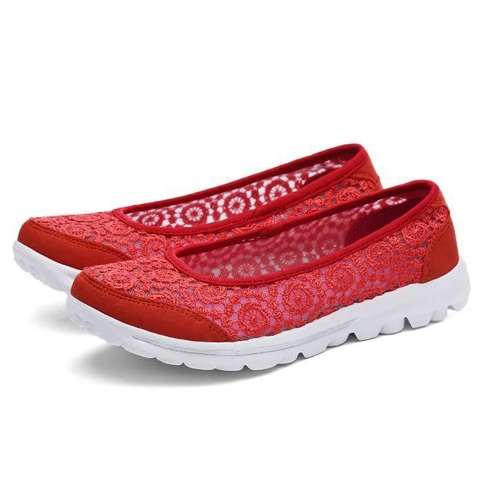 Slip-on Flats Chaussures de marche pour Lightweight Floral Lace Respirant Chaussures de sport Mode TRHP8 Taille-36