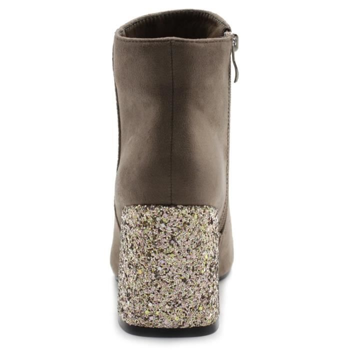 Chaussures Faux Suede Zipper Up Chunky Talons Glitter Bottines Twb0103 JOTE0 Taille-38 NYgqXUk