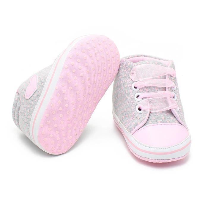 Classique Chaussures bébé Casual tout-petits nouveau-nés Pois Bébés filles d'automne à lacets First Walkers sneakers,gris,13