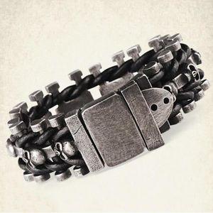 BRACELET - GOURMETTE Bracelet Bijoux Homme - Bracelet crane en cuir noi