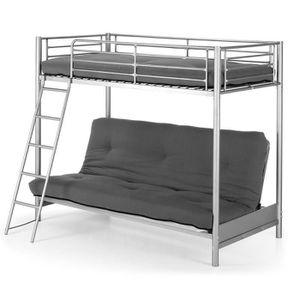 lit superpos en m tal avec un canap lit 90x190 cm et inf rieure 140x190 cm achat vente. Black Bedroom Furniture Sets. Home Design Ideas