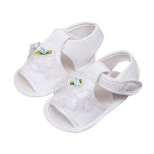 Frankmall®bébé filles berceau chaussures Soft semelle anti-dérapant espadrilles fleur sandales BLANC#WQQ0926017 1vxcB5