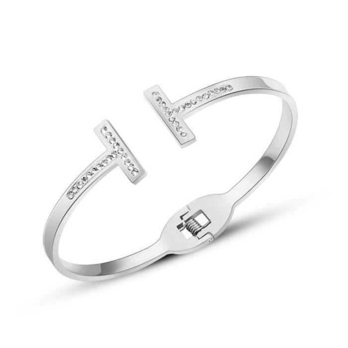 BraceletBande de mode double t de forage anti - allergie pas de décoloration des bracelets