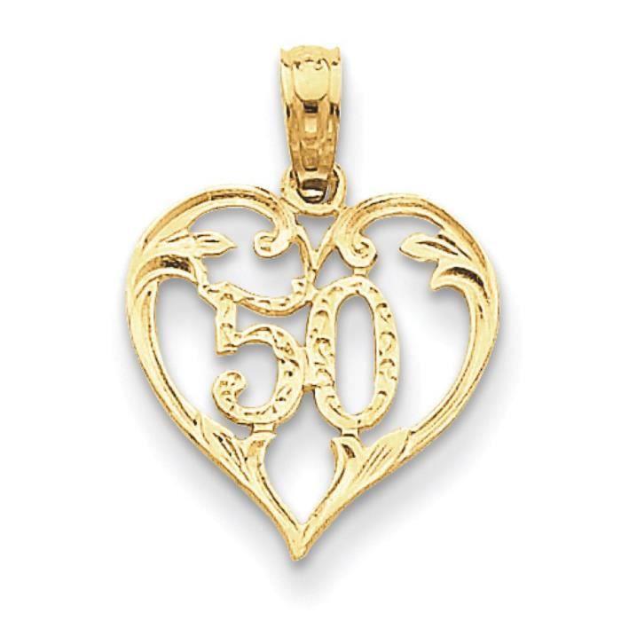 50 14 carats en forme de cœur Coupe-Pendentif-Dimensions :19,4 x 14,1 mm