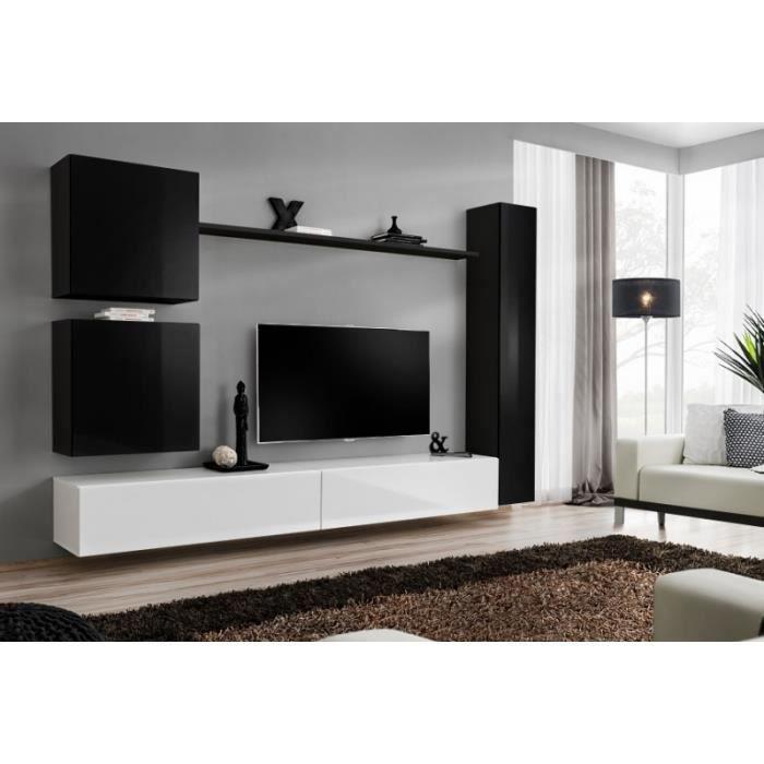 Ensemble Tv Mural 7 éléments Noir Et Blanc 40 Cm Achat Vente