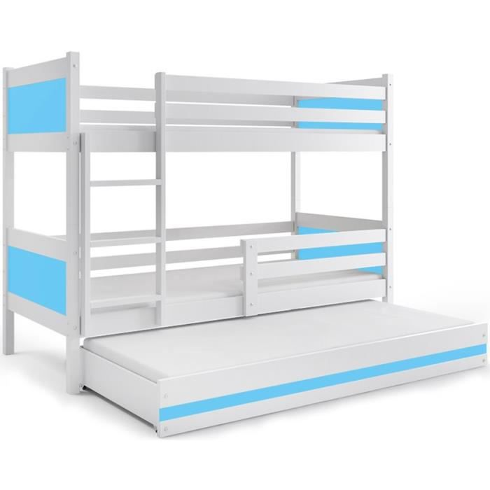 Lit Superpose 3 Places Rino 190x90 Blanc Bleu Couleurs Mdf Avec
