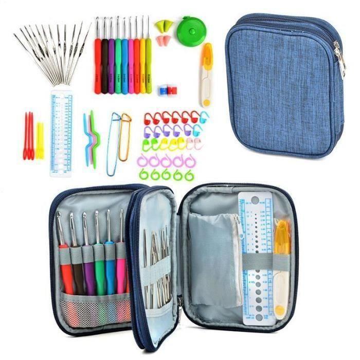 16Pcs Plastique Poignée et Alumine Crochet Crochets aiguille fil tricoter Craft Case S