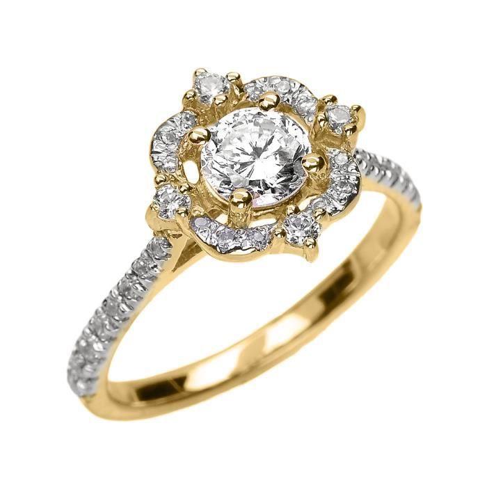 Bague Femme 14 Ct Or Jaune Véritable Blanc Topaze Et Diamant