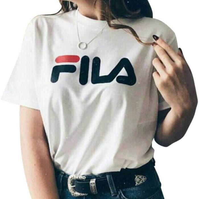 2da1e7c1747 Nouveau Été Style T Shirt Manches Courtes Coton Tee Tops Femme Vetements  Blanc T-Shirts